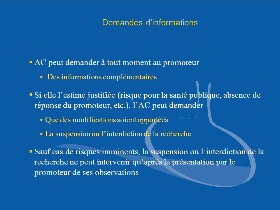 Demandes d'informations