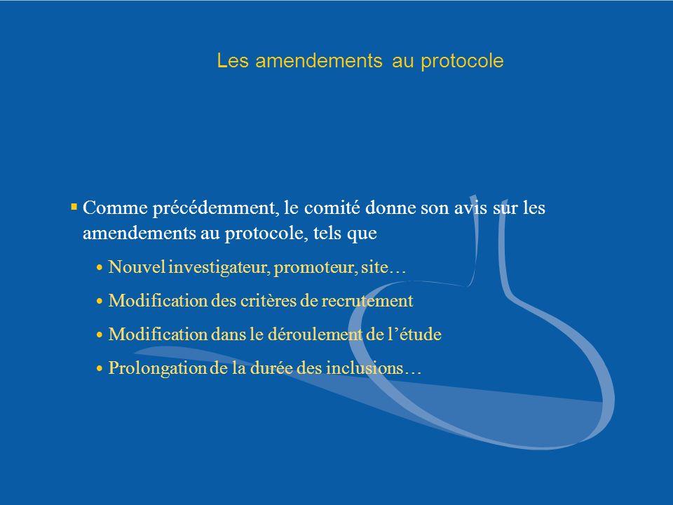 Les amendements au protocole