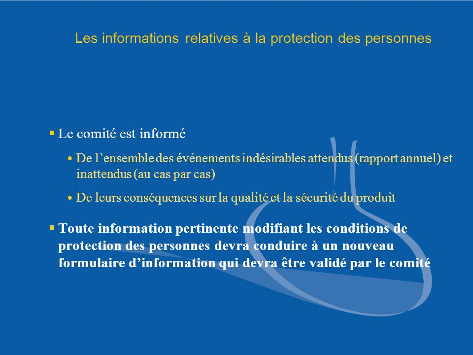 Les informations relatives à la protection des personnes