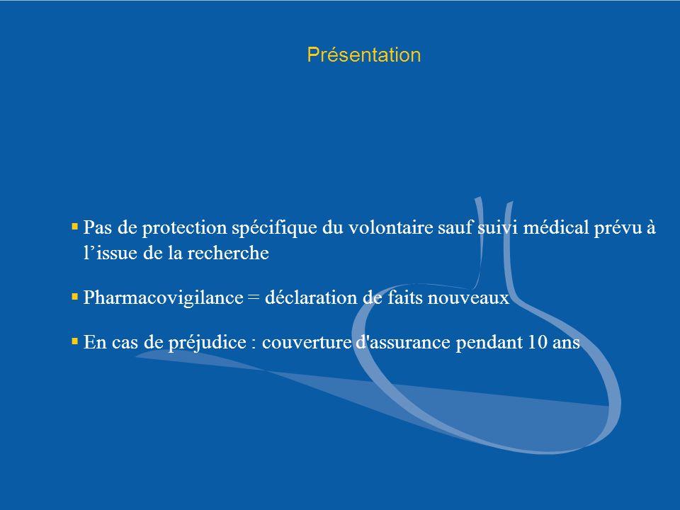 Présentation Pas de protection spécifique du volontaire sauf suivi médical prévu à l'issue de la recherche.