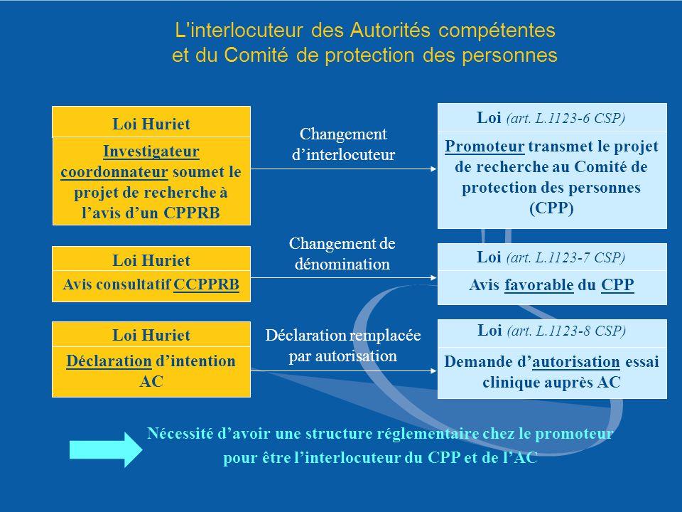 L interlocuteur des Autorités compétentes et du Comité de protection des personnes