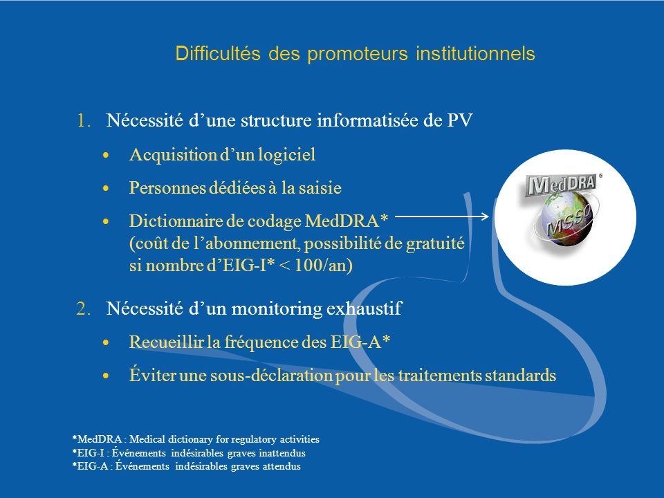 Difficultés des promoteurs institutionnels