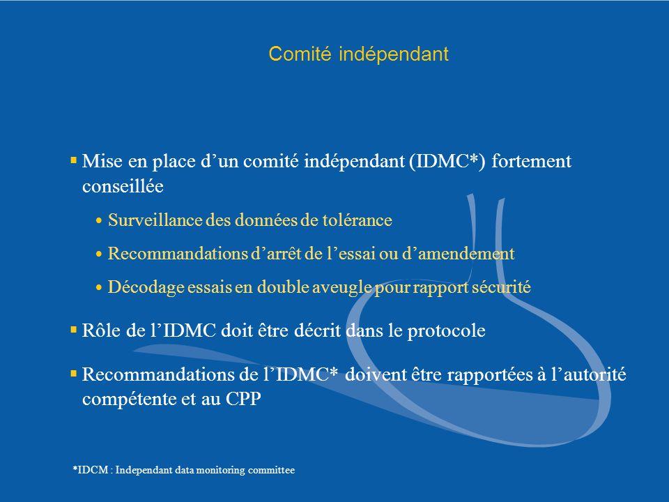 Mise en place d'un comité indépendant (IDMC*) fortement conseillée