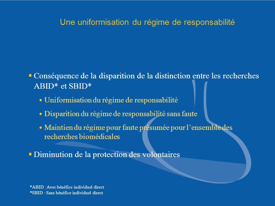 Une uniformisation du régime de responsabilité