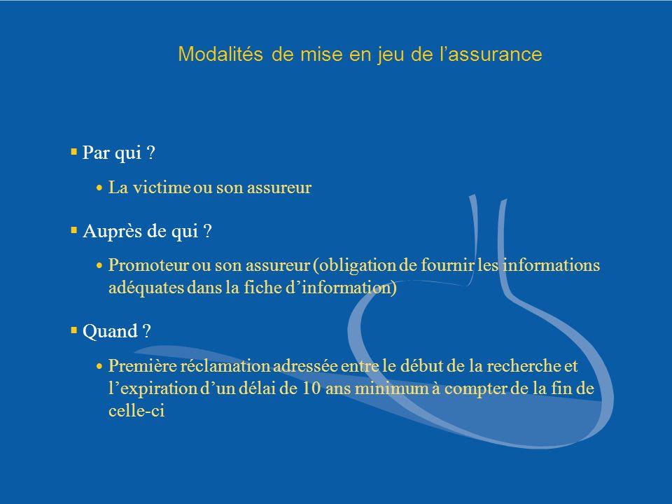 Modalités de mise en jeu de l'assurance