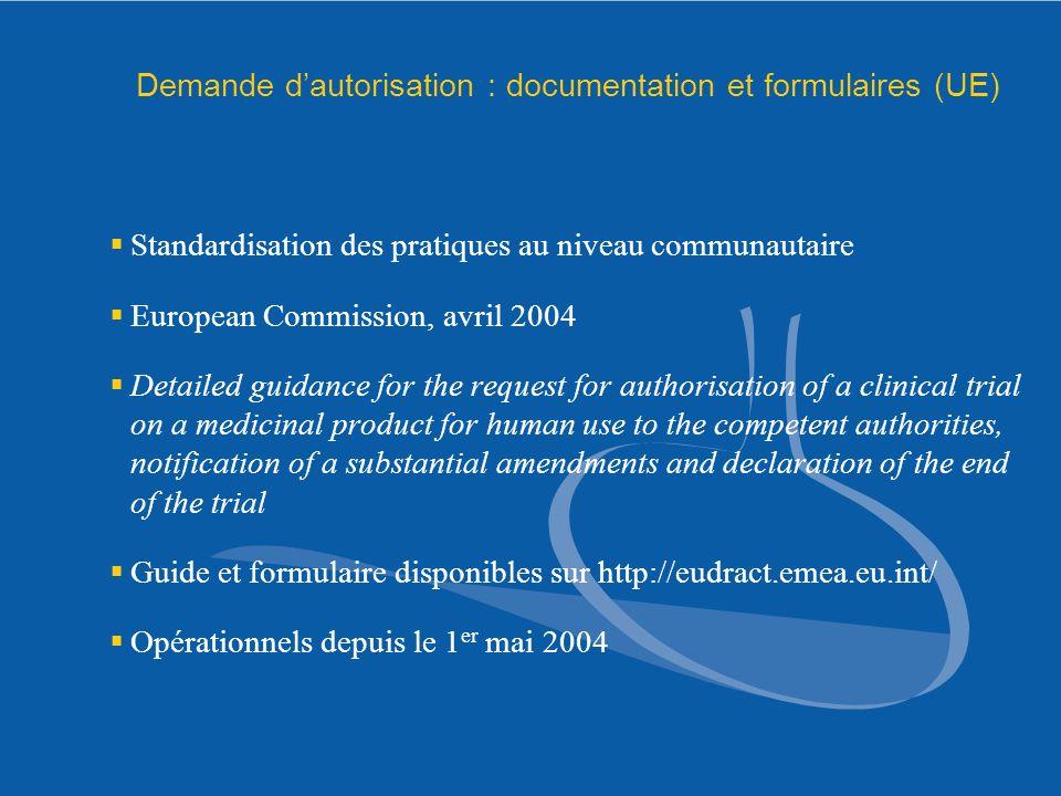 Demande d'autorisation : documentation et formulaires (UE)