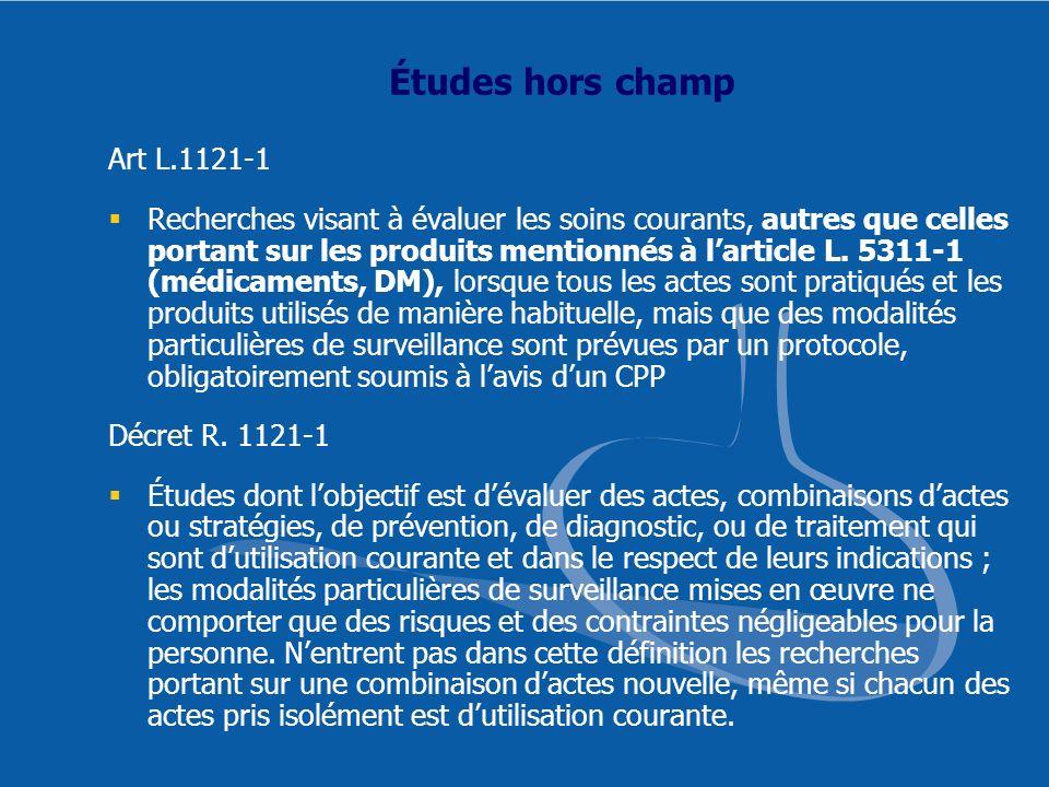 Études hors champ Art L.1121-1