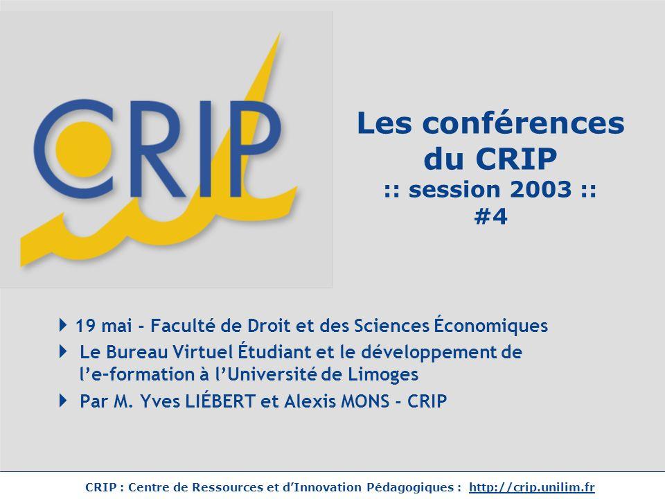 Les conférences du CRIP :: session 2003 :: #4