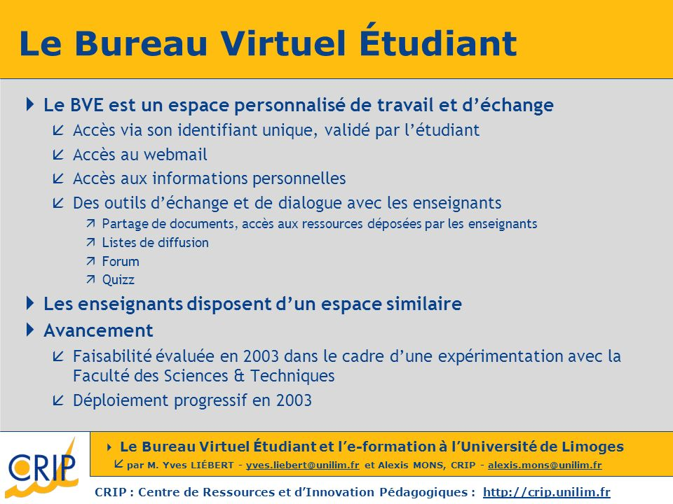Le Bureau Virtuel Étudiant