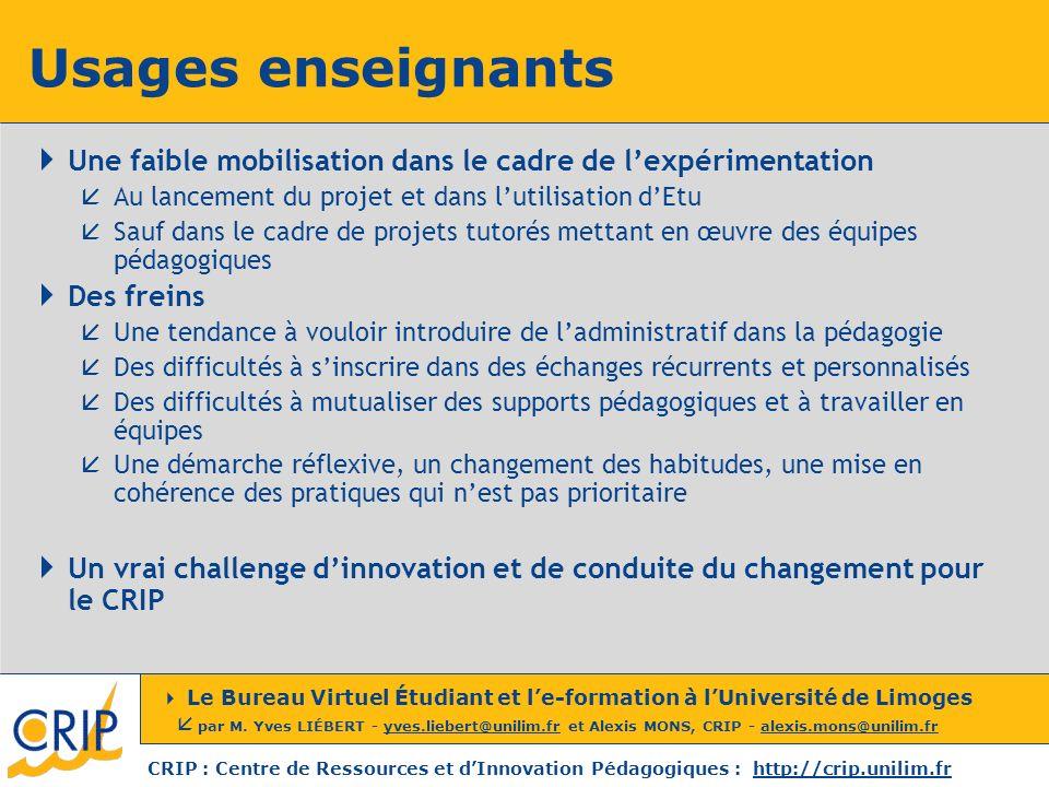 Usages enseignants Une faible mobilisation dans le cadre de l'expérimentation. Au lancement du projet et dans l'utilisation d'Etu.