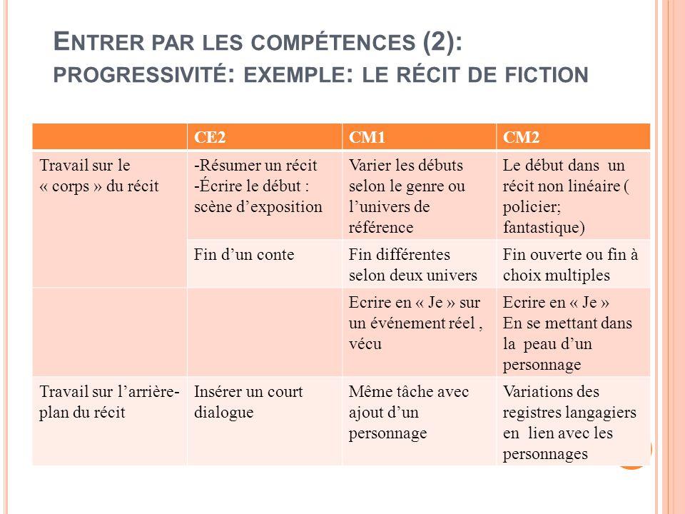 Entrer par les compétences (2): progressivité: exemple: le récit de fiction