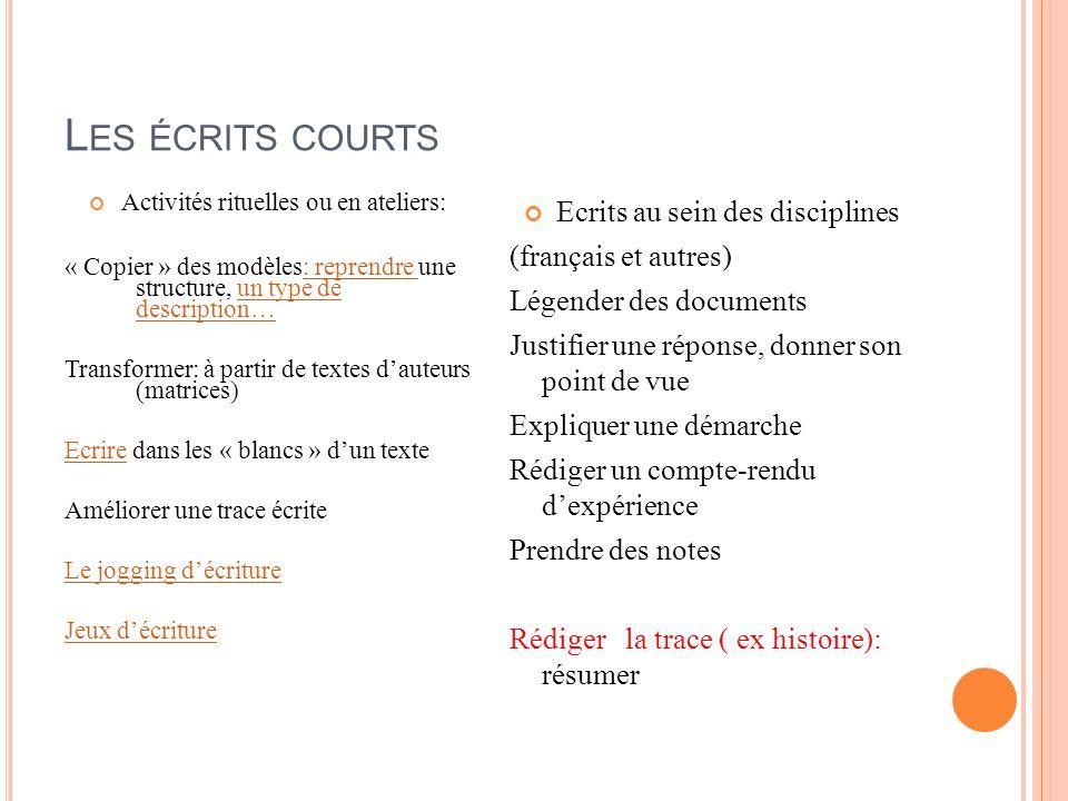 Les écrits courts Ecrits au sein des disciplines (français et autres)