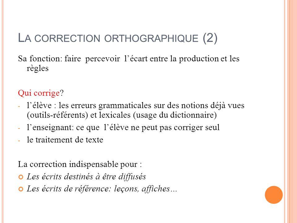 La correction orthographique (2)