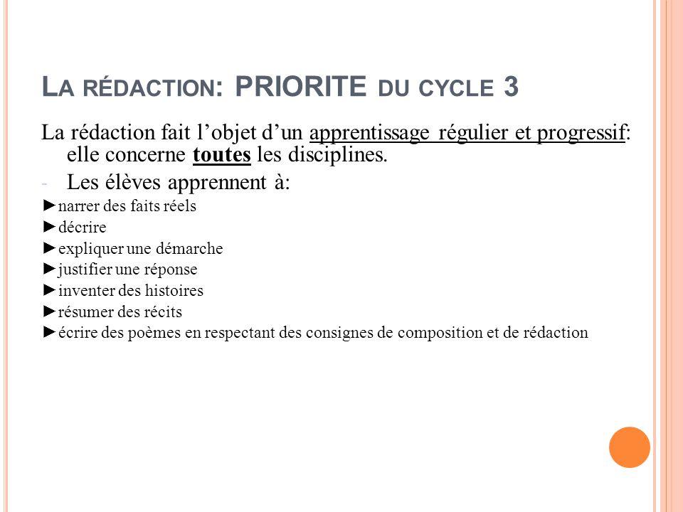 La rédaction: PRIORITE du cycle 3