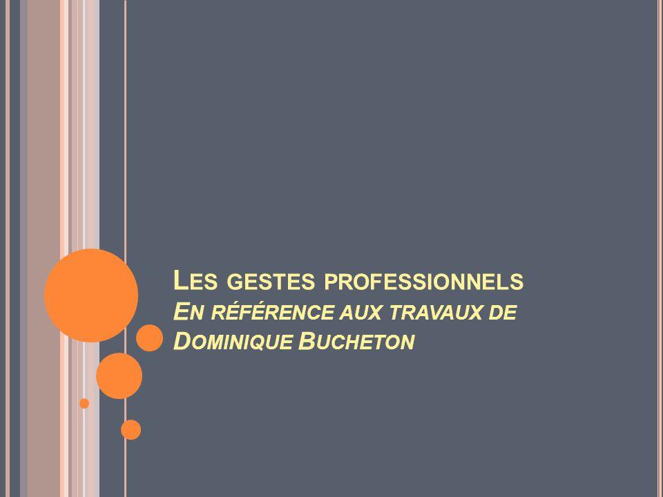 Les gestes professionnels En référence aux travaux de Dominique Bucheton