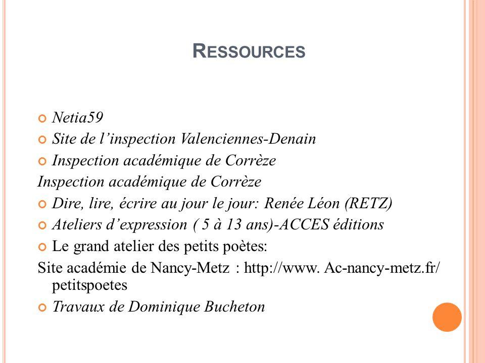 Ressources Netia59 Site de l'inspection Valenciennes-Denain