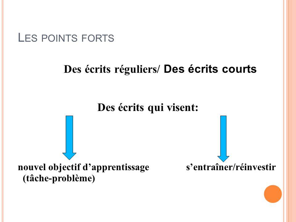 Les points forts Des écrits réguliers/ Des écrits courts