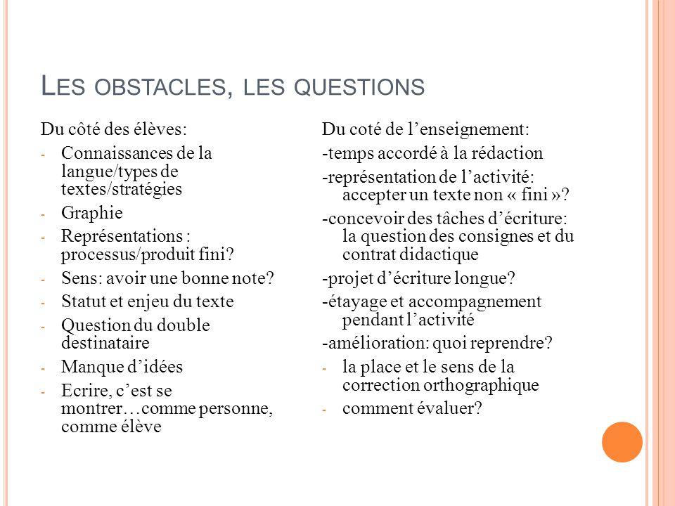 Les obstacles, les questions