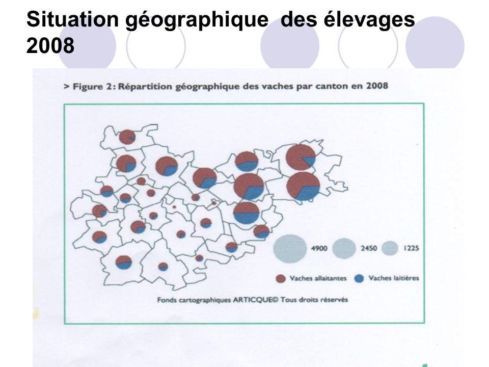 Situation géographique des élevages 2008