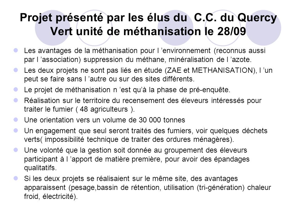 Projet présenté par les élus du C. C