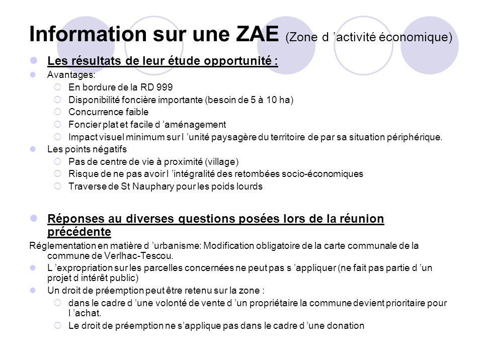 Information sur une ZAE (Zone d 'activité économique)