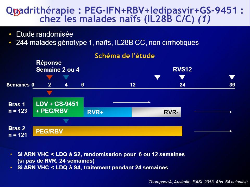 Quadrithérapie : PEG-IFN+RBV+ledipasvir+GS-9451 : chez les malades naîfs (IL28B C/C) (1)