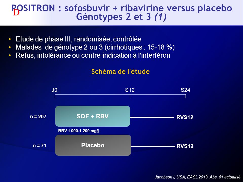 POSITRON : sofosbuvir + ribavirine versus placebo Génotypes 2 et 3 (1)