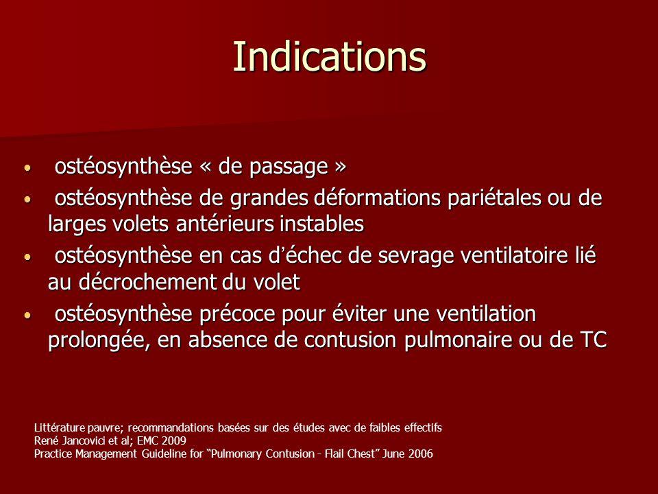 Indications ostéosynthèse « de passage »