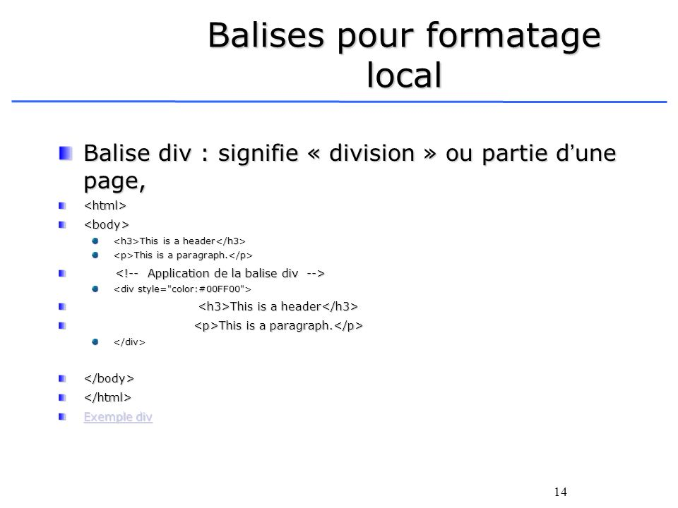 Balises pour formatage local
