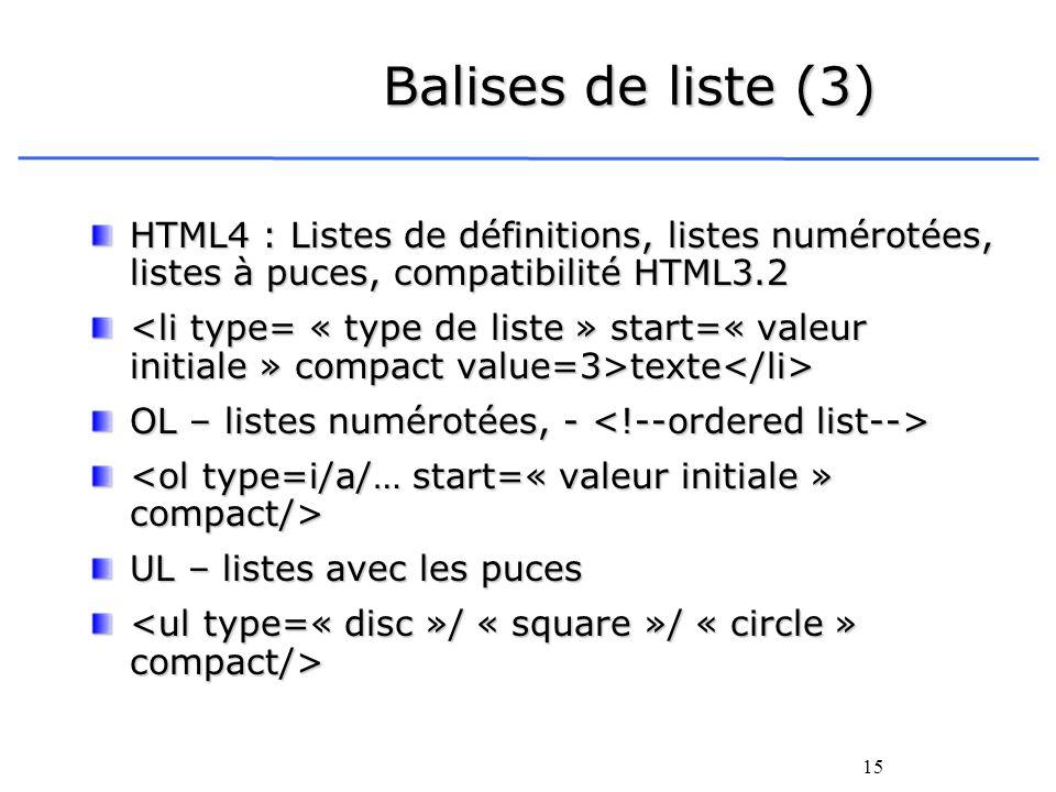 Balises de liste (3)HTML4 : Listes de définitions, listes numérotées, listes à puces, compatibilité HTML3.2.