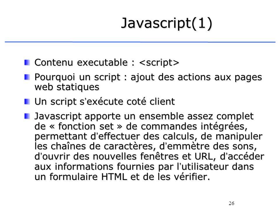 Javascript(1) Contenu executable : <script>