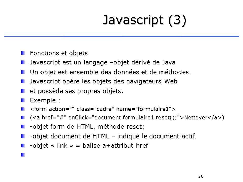 Javascript (3) Fonctions et objets