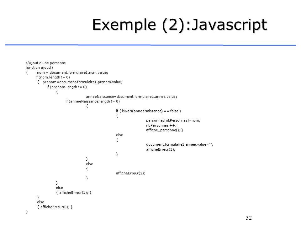 Exemple (2):Javascript