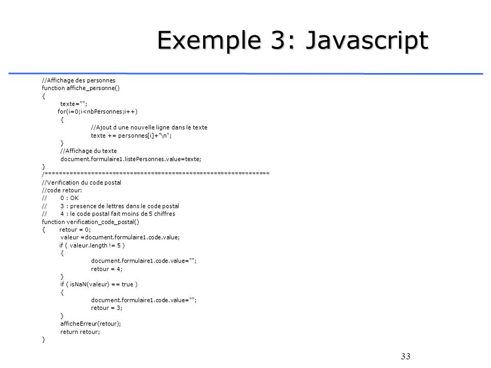 Exemple 3: Javascript //Affichage des personnes