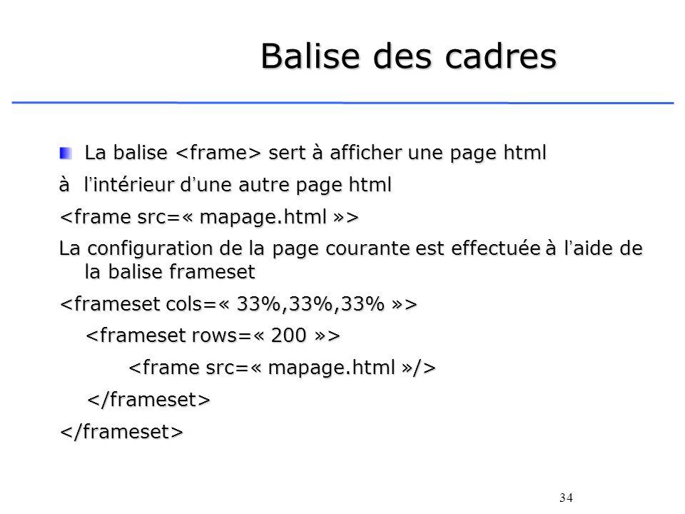 Balise des cadres La balise <frame> sert à afficher une page html. à l'intérieur d'une autre page html.