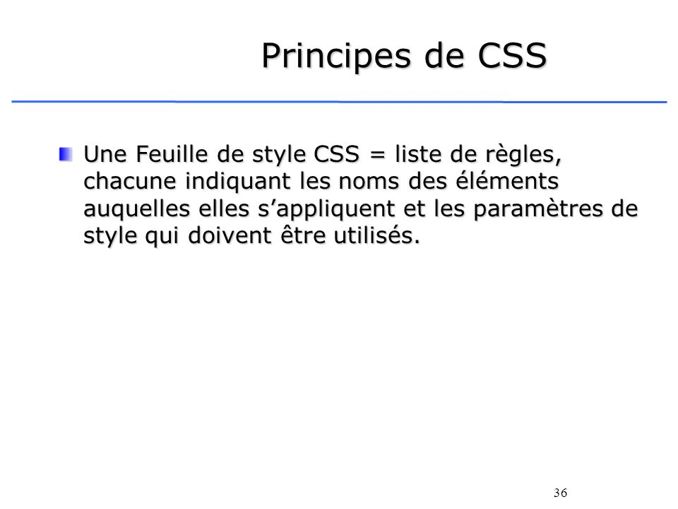 Principes de CSS
