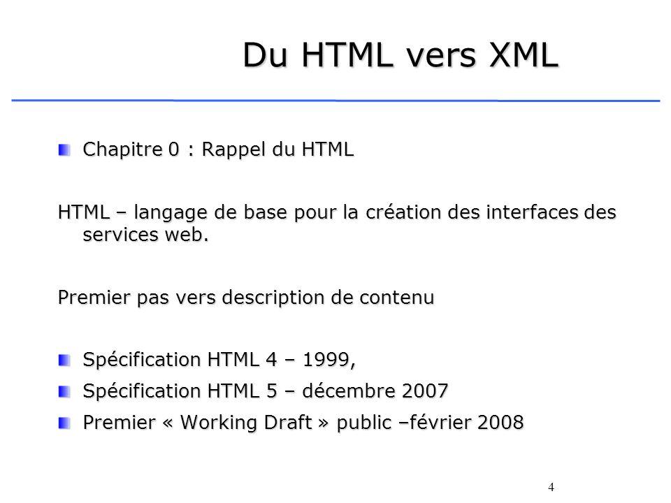 Du HTML vers XML Chapitre 0 : Rappel du HTML