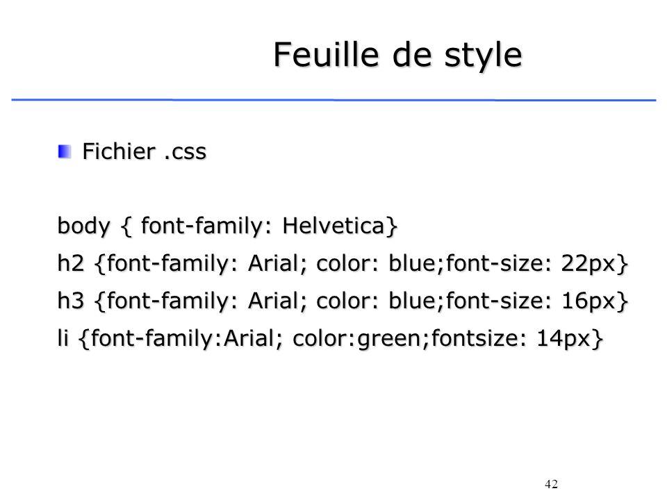 Feuille de style Fichier .css body { font-family: Helvetica}
