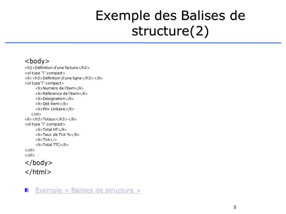 Exemple des Balises de structure(2)