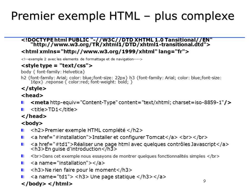 Premier exemple HTML – plus complexe
