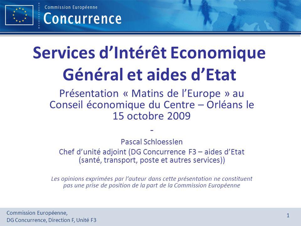 Services d'Intérêt Economique Général et aides d'Etat