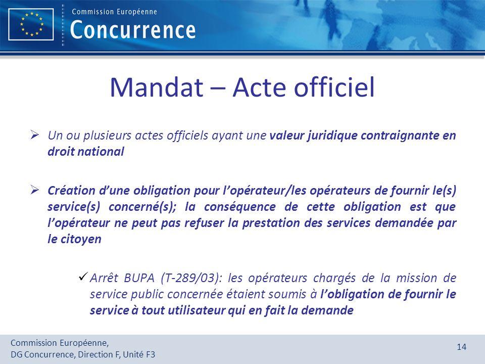 Mandat – Acte officiel Un ou plusieurs actes officiels ayant une valeur juridique contraignante en droit national.