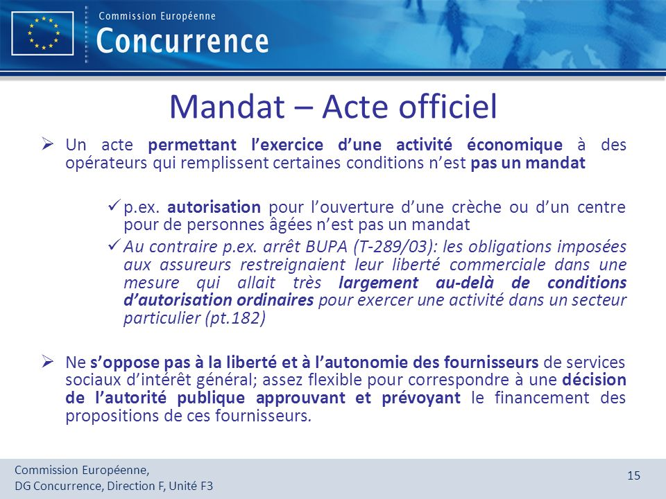 Mandat – Acte officiel