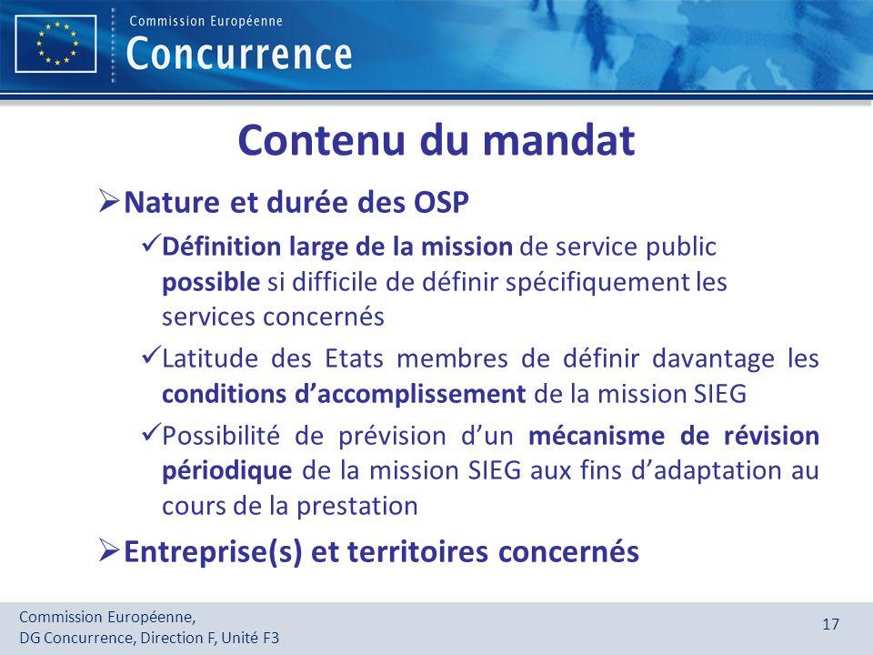 Contenu du mandat Nature et durée des OSP