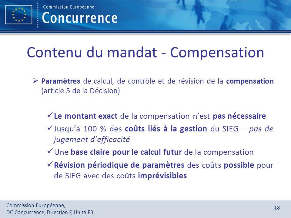 Contenu du mandat - Compensation