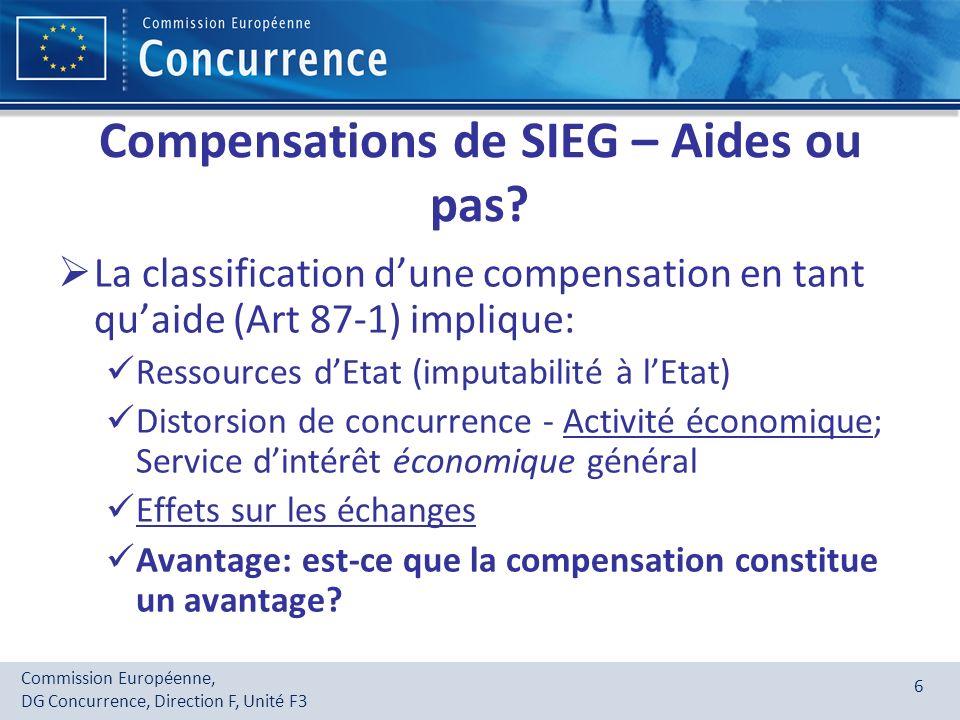 Compensations de SIEG – Aides ou pas