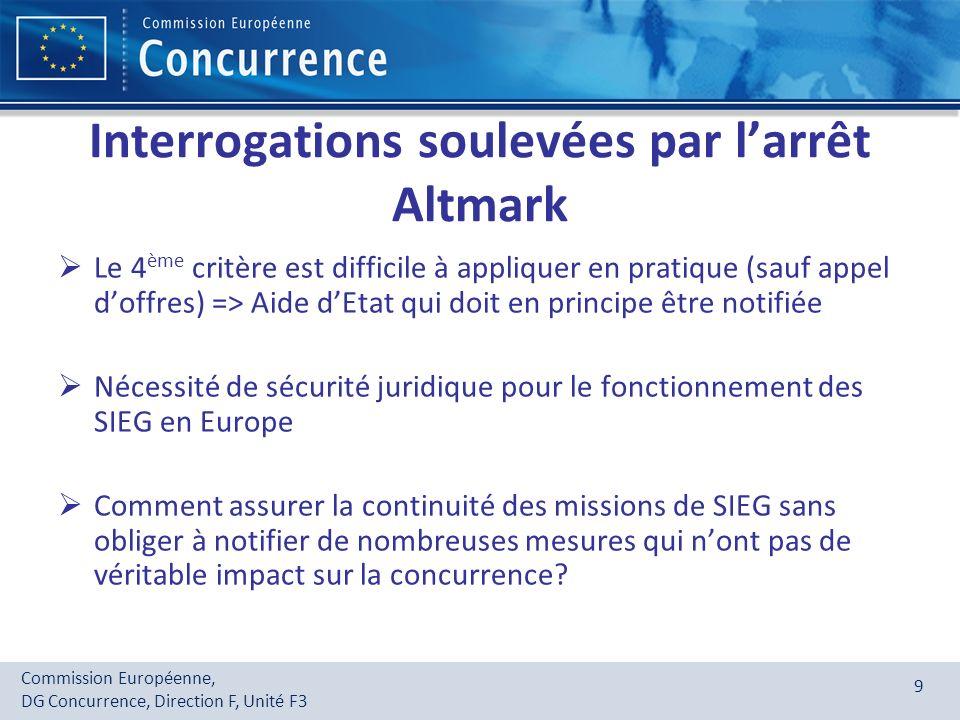 Interrogations soulevées par l'arrêt Altmark