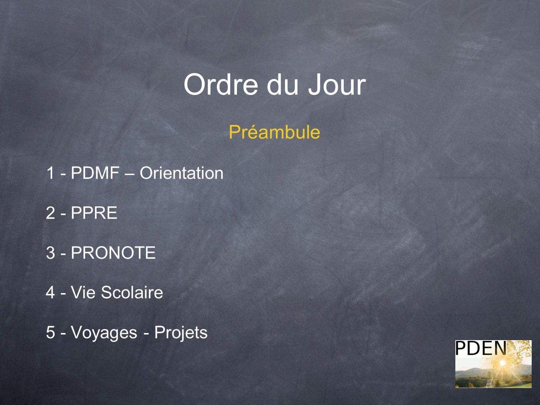 Ordre du Jour Préambule 1 - PDMF – Orientation 2 - PPRE 3 - PRONOTE