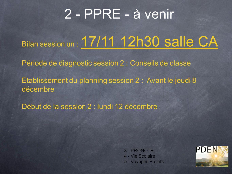 2 - PPRE - à venir Bilan session un : 17/11 12h30 salle CA
