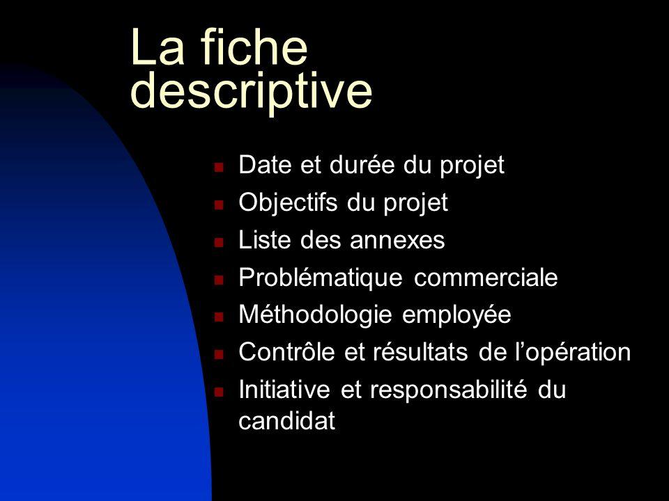La fiche descriptive Date et durée du projet Objectifs du projet